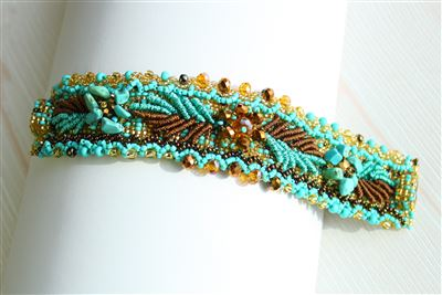 Beaded and Embroidered Cuff Bracelet