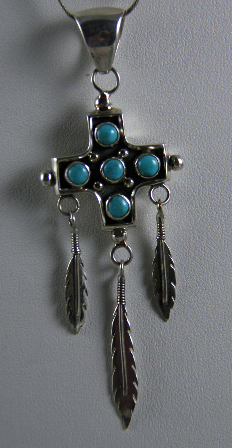 Navajo Pendant with Feathers
