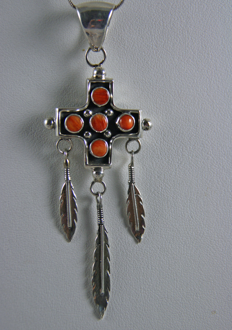 Navajo Four Directions Pendant with Feathers