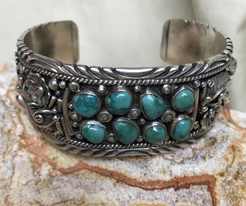 George Begay (Navajo) Fancy Silverwork and Turquoise Cuff Bracelet
