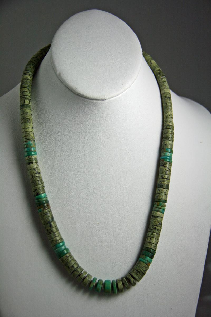 turquoise rose santa and native long american serpentine kewa greenheishi domingo std heishi fe santo necklace