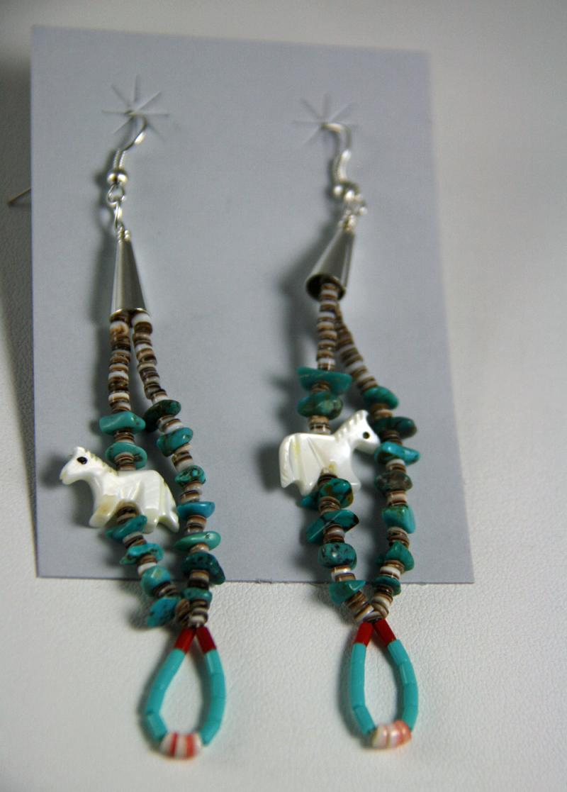 Navajo Beaded Horse Earrings